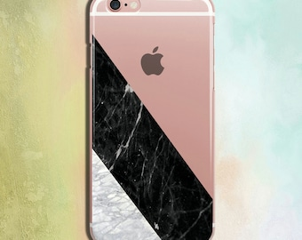 Clear iPhone 6 Case Geometry Marble Case iPhone 6s Transparent Case iPhone 6s Case Clear iPhone 7 & plus Clear Cover Black Marble CZ200