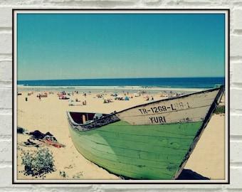 Boat On The Beach, Ocean, Nautical Printable Poster, Digital Wall Print, Dreamy Photo, Blue Art, Yachting Printable, Boat Wall Art