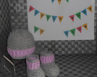 Crocheted Boots and Hat Set - New Baby - Grey and Lilac - Baby Shower Gift - Newborn, 0-3, 3-6, 6-9