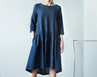 NEW Pleated dark blue  linen dress, long sleeves dress, fashion dress,  summer dress, dark blue dress, loose fit dress