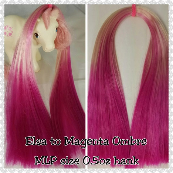 MLP size 0.5 Hank Ombre Elsa to Magenta Hand-Dyed Nylon Doll Hair for Rehairing My Little Pony