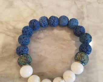 Blue lava bead armotherapy  bracelet