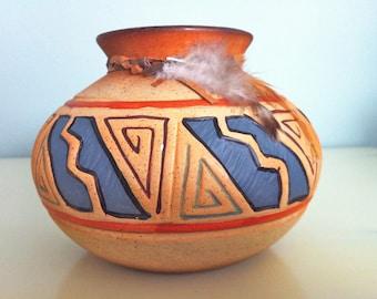 Native American Design Clay Pot/Navajo Design Clay Pot/Native American Pottery/Clay Pot/Navajo Pottery/Native American Earthenware Pot