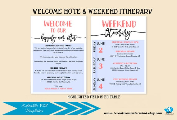 Diy Wedding Typography Welcome Bag Note Welcome Bag Letter