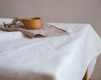 Natural white linen tablecloth / 145 X 250 cm / natural linen