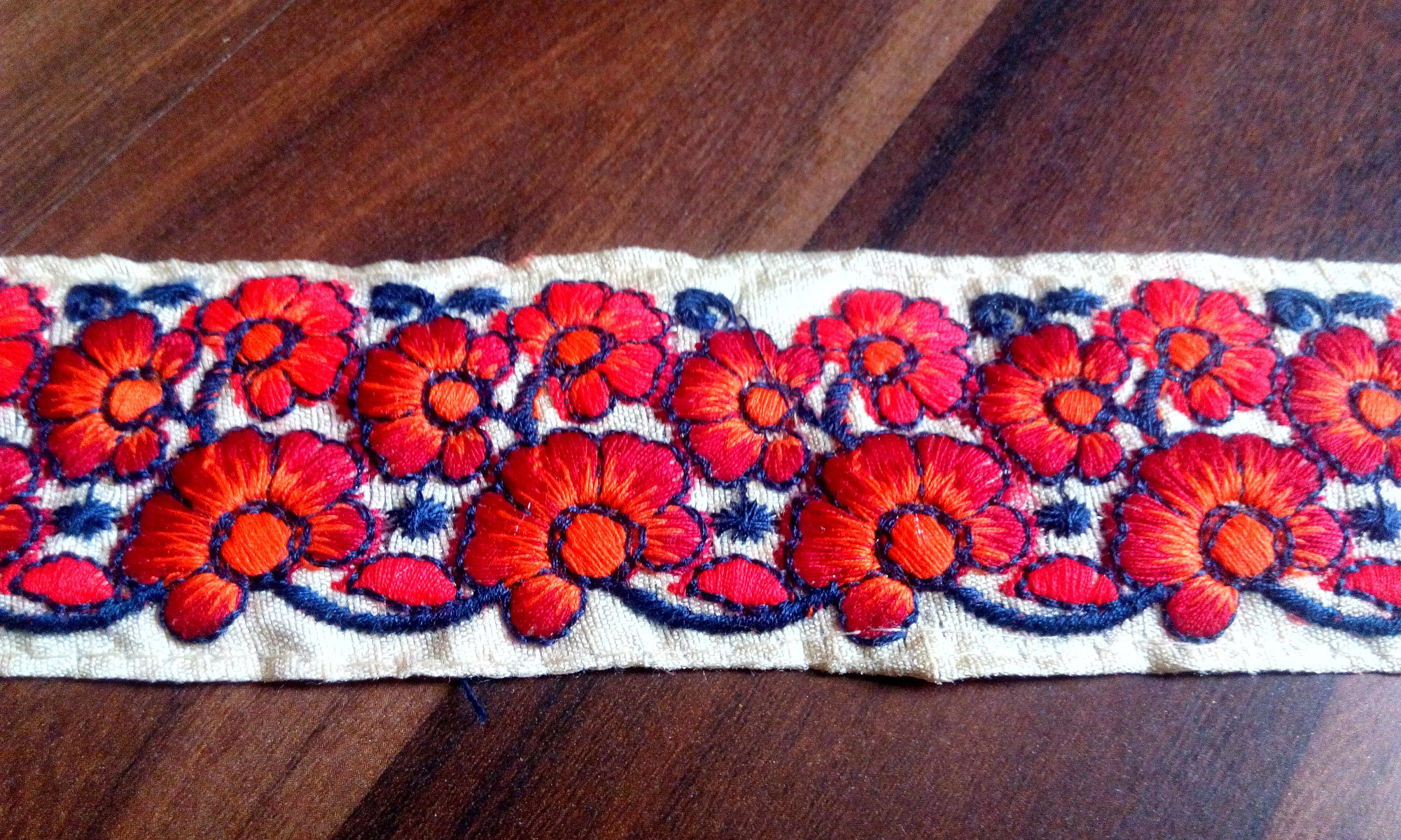 Decorative Fabric Trim Red Fabric Embroidered Trim By The Yard Indian Laces And Trims
