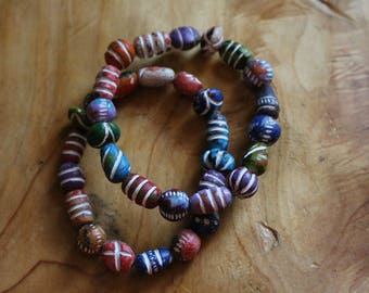 Multi Colored Clay Beaded Bracelet