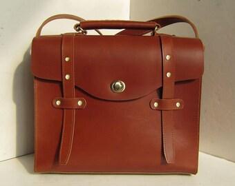 Burgundy Italian Genuine Leather Satchel