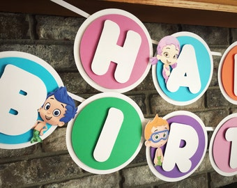 Bubble Guppies Birthday Banner, Happy Birthday, Colorful Sign