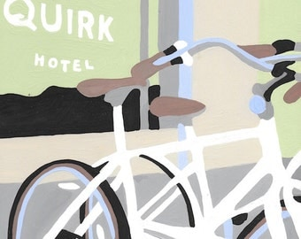 Paint by Number Kit - White Bicycles in front of Quirk Hotel in Richmond, Virginia (perfect for DIY paint parties)