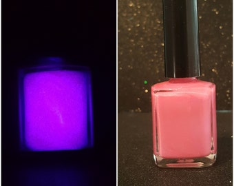 Pink Glow hand made glow in the dark nail polish.