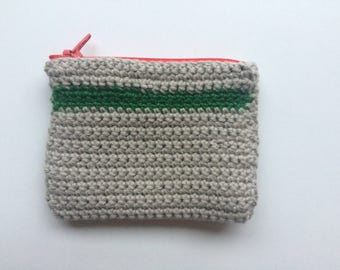 Colorful crocheted Pouch with Lining