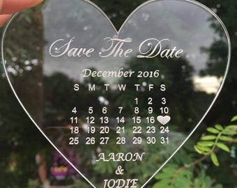 Clear Acrylic Love Heart Save The Date