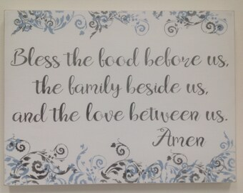 Bless the food before us, the family beside us, and the love between us, Amen, spiritual sign, prayer, home decor, dinner prayer,rustic sign