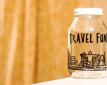 TRAVEL FUND JAR with world landmarks || explore adventure wanderlust coin bank piggy bank savings jar