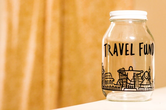 Travel fund jar with world landmarks explore adventure for Travel fund piggy bank