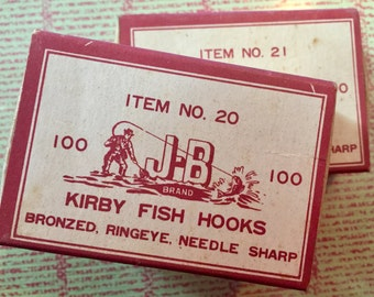 Two Kirby Fish Hooks Bronzed, Ringeye, Needle Sharp Kirby Fish Hooks, Old Fishing Lures, Fish Hooks, Vintage Fishing, Collectible Fishing