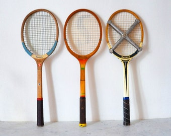 Beautiful set of three vintage wooden tennis rackets