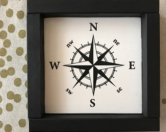 "Painted Compass Framed Wood Sign  7"" x 7"", Traveler, Wanderlust, Farmhouse, Rustic, Explore"