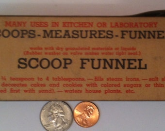 Vintage Scoop Funnel, Made in USA, Works with Dry Granulated Powders and Liquids, In Original Box, For Kitchens and Laboratories, Scoop