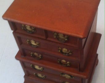 Vintage Wooden Jewelry Box, Multiple Drawers, Musical Box, Old Tyme Box, 11 x 8 x 5 1/2 inches, Dresser Display