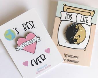 "pug mom & yin yang pugs enamel pins 1.5"""
