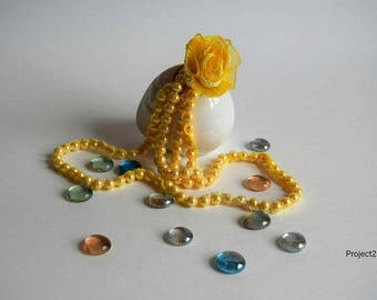 Pearl Necklace and crochet flower