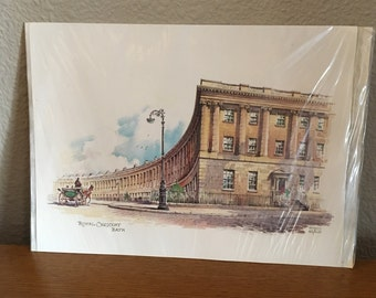 Vintage Watercolor Print- Royal Crescent, Bath by Kenneth A. Bromley- English Art Print