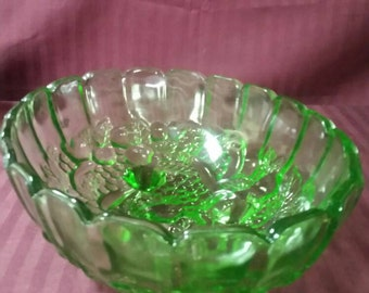 12 inch green footed fruit bowl. Indiana glass