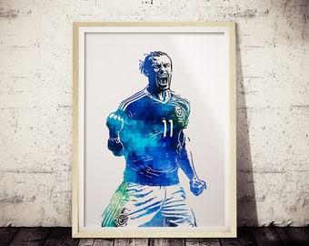 Gareth Bale Green and Blue Art Print, Minimalist Poster, Geometric Art, Futbol Poster, Modern Wall Decor, Gareth Bale Poster, Polygonal Art