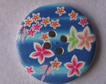 40mm wooden button painted with flowers