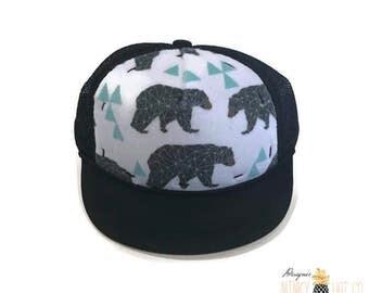 Mint Geo Bear Minky Baby Trucker Hat, Black SnapBack