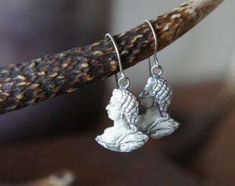 Solid Silver Marie Antoinette Profile Bust Earrings