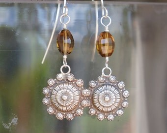 Ornate Antique Floral Style Earrings with Fancy Cut Beer Quartz