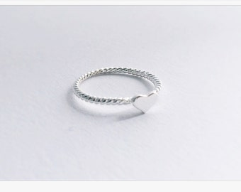 SILVER ring, friendship ring, love heart, ring, heart, pre-ring, ring in rose gold heart