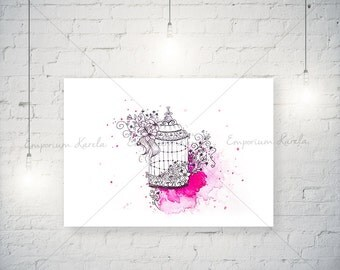 Watercolor - Bird Cage - HandMade - DIGITAL - printable