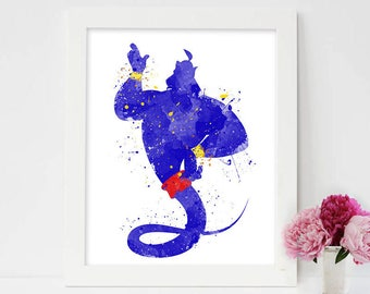 Disney Aladdin Genie, Aladdin poster, Aladdin genie, genie wall art, genie bottle, genie costume, genie lamp, aladdin genie lamp, disney art