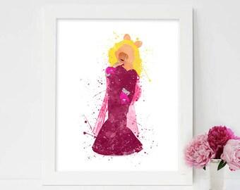 The Muppets Art, Miss Piggy Print, Muppet Print, Muppet Art, Watercolor Printable, Muppet Poster, Muppet Decor, Nursery Printable art