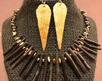 Black Bamboo & Hammered Brass Necklace Set