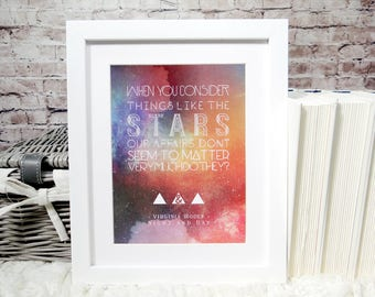 Virginia Woolf Literary Quote Print, wall art, 8 x 6 print, galaxy print, Bookworm gifts, home decor, wall hanging, motivational quote