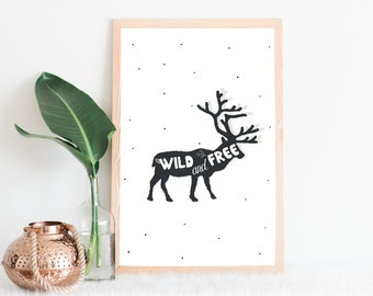 Shows Wild and Free, deer, reindeer, nature, wild, Scandinavian, animal illustration