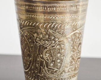 Solid Vintage Brass Etched Cup, Vase, Engraved, Antique Indian Etched Brass Cup