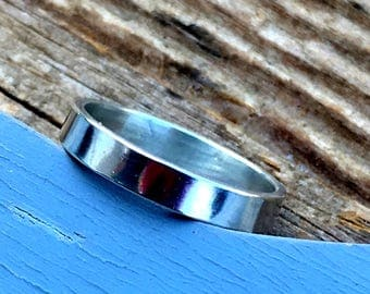 Made to Order Polished Sterling Silver Band, Wedding Band, Wedding Ring, Sterling Silver Ring,  Stacking Ring
