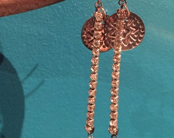 Silver coin and rhinestone chain earrings
