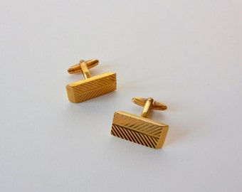 Vintage Pair of Gold Plated Cufflinks by Myon Paris / Cuff Links Gold Retro / Gift For Him