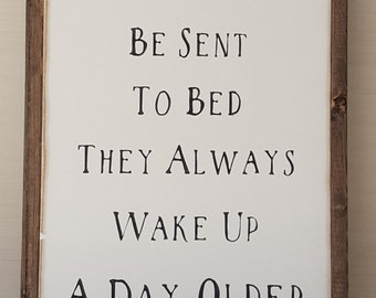 Little Boys Should Never Be Sent To Bed Framed Sign 1'x2' Peter Pan Handpainted Wooden Sign Children Wall Art