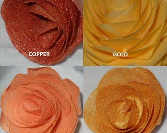 Edible Cake/Cupcake Decoration Wafer Rose Flowers Coppeer Gold Rose Bronze Weddings Anniversaries Birthdays Choose your color and size
