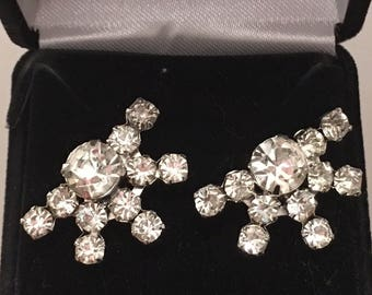 Vintage 1940/50 Rhinestone Cluster Earrings - converted from clip-on to pierced