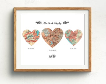 Personalized Map Hearts, Personalized Map, Heart Map Art, Map Heart, Heart Map Print,3 Heart Map, Wedding Gift Heart Map, 16 x 12 inches