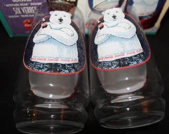 Vintage Coca Cola Attitude Bear Glasses Set 1997